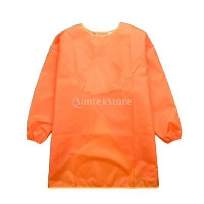 多目的 長い袖 子供服 エプロン 絵画 防水 作業服 通気性 3サイズ6色選ぶ - オレンジ, S