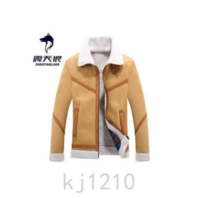 ジャケットメンズアウタートップス冬服折り襟裏ボア起毛暖かいシンプルジップアップジッパー厚手長袖M〜3XL2色