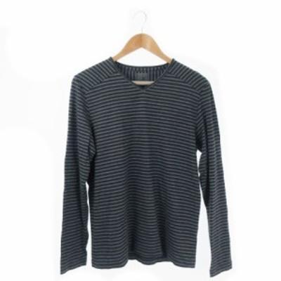 【中古】シーケーカルバンクライン ck Calvin Klein Tシャツ カットソー Vネック 長袖 ボーダー L グレー /AO5 メンズ