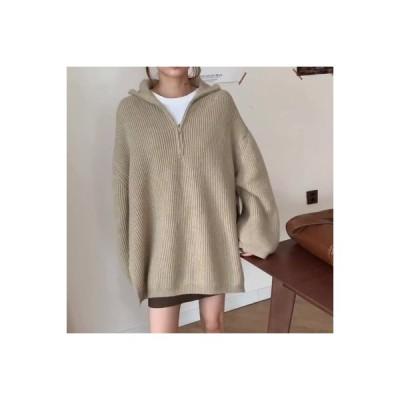 【送料無料】~ ブラウス 韓国風 ルース ジッパー 長袖 ヘッジ セーターを着る | 346770_A64304-1274926
