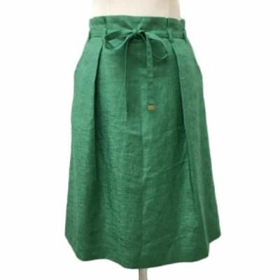 【中古】ロペ ROPE スカート フレア ひざ丈 タック リボンベルト付き 無地 9 緑 グリーン レディース
