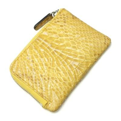 財布 L字 ラウンドファスナー財布 札入れ レディース財布 メンズ財布 薄型 コンパクト パイソン 蛇革 ヘビ革 ウェーブ イエロー