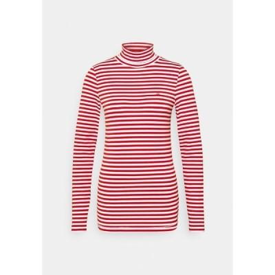 カルバンクライン カットソー レディース トップス STRIPE TURTLE NECK - Long sleeved top - red