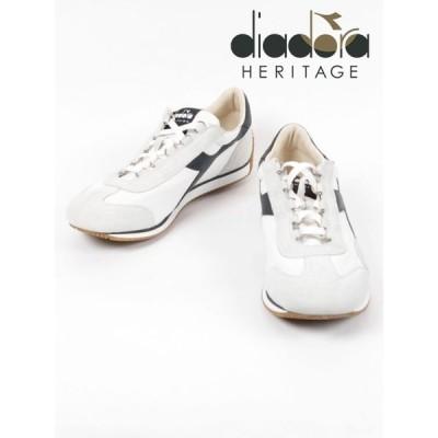 diadora HERITAGE ディアドラヘリテージ 1975刺繍 レザースニーカー ホワイト×ブラック 174735A 0351 EQUIPE H CANVAS ST(10-20%OFF) 国内正規品