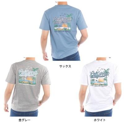 サーフバックプリントクルーネック半袖Tシャツ