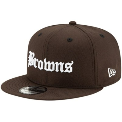 "ニューエラ メンズ キャップ ""Cleveland Browns"" New Era Gothic Script 9FIFTY Adjustable Snapback Hat - Brown"