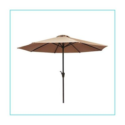 JEAOUIA Beige Outdoor Patio Umbrella 9Ft, Windproof Offset Umbrella Garden Shade Umbrella with Push Button Tilt and 8 Sturdy Ribs for Backya