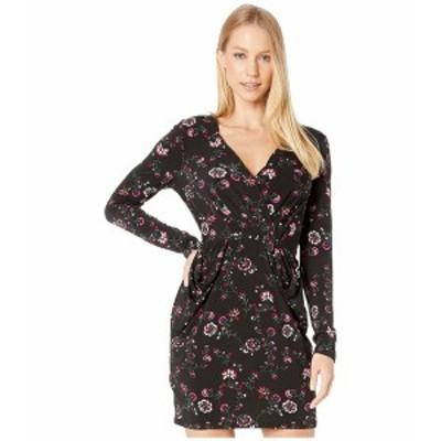 BCBジェネレーション レディース ワンピース トップス Cocktail Long Sleeve Drape Pocket Dress Black