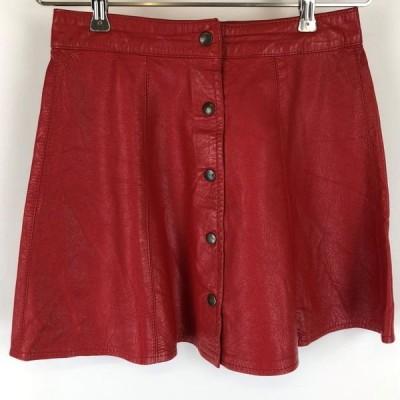 【古着】 レザースカート made in ITALY ミニ丈 ボタンダウン 裏地無し 無地 レッド系 レディースW25 n012668