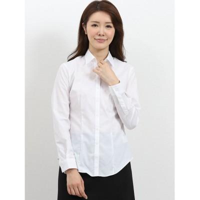 【タカキュー】 形態安定レギュラーカラースキッパー ブロード長袖シャツ レディース ホワイト S TAKA-Q