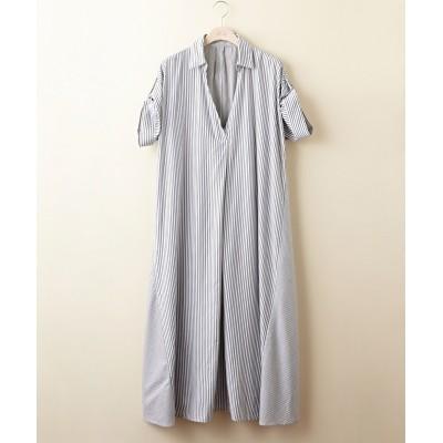 【大きいサイズ】 ストライプロングワンピース 薄手素材 ワンピース, plus size dress