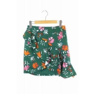 【中古】未使用品 カメオコレクティブ CAMEO COLLECTIVE スカート ミニ ペプラム 総柄 S 緑 /MN ■OS レディース