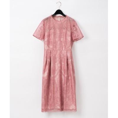(GRACE CONTINENTAL/グレースコンチネンタル)チュール刺繍フレアワンピース/レディース ピンク