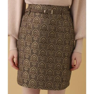 スカート ベルト付きゴブランミニスカート