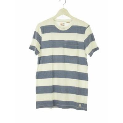 【中古】エムニーイ M.NII 半袖 ボーダー Tシャツ カットソー トップス ポケット XS ネイビー ホワイト メンズ