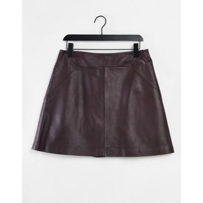 ホイッスルズ レディース スカート ボトムス Whistles a-line leather skirt in burgundy Burgundy