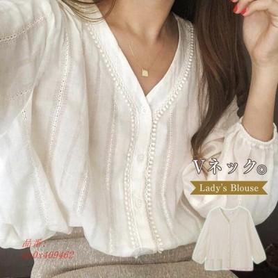 ブラウス レディース 綿麻風 Vネック トップス ボタン飾り 透かし彫り 可愛い 夏 カジュアル シャツ 長袖 無地 きれいめ 春 ベーシック おしゃれ