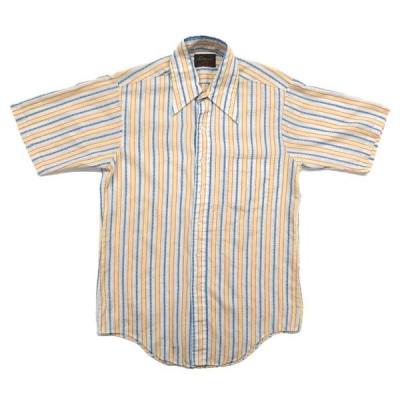 70年代 TRADITIONALS BY CAMPUS ストライプ 半袖シャツ 襟芯入り サイズ表記:15-M-15 1/2