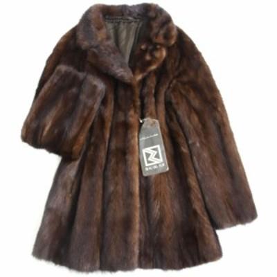 未使用品▼日本製 MINK ミンク 裏地花柄刺繍入り 本毛皮コート ダークブラウン 大きめサイズ17号 毛質艶やか・柔らか◎