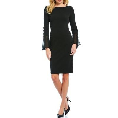 カルバンクライン レディース ワンピース トップス Chiffon Bell Sleeve Sheath Dress Black