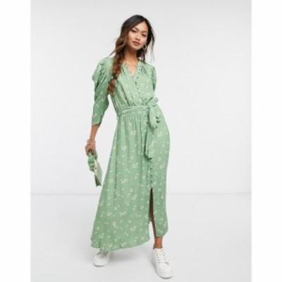 ゴースト Ghost レディース ワンピース ワンピース・ドレス Shirlie dress in green floral print グリーン