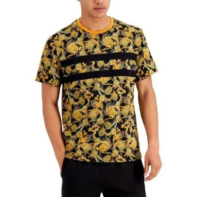 アイエヌシーインターナショナルコンセプト メンズ Tシャツ トップス INC Men's Stripe Appliqu Floral Graphic T-Shirt