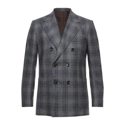 KITON テーラードジャケット ブルー 48 カシミヤ 80% / シルク 14% / リネン 6% テーラードジャケット