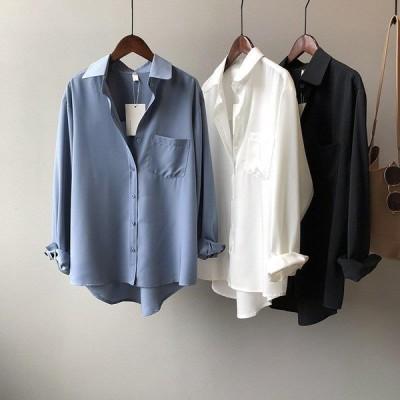 ブラウス 白シャツ レディース 長袖 無地 ポケット付き 体型カバー オーバーサイズ 羽織り トップス きれいめ 通勤 オフィス