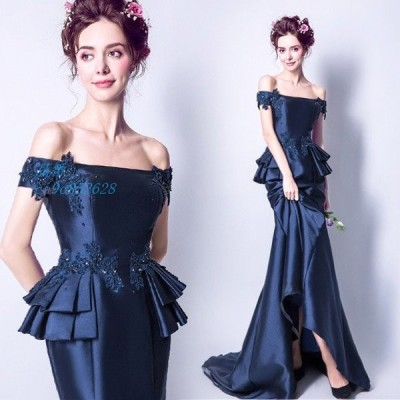 ボートネック オフショルダー イブニングドレス 40代 紺色 マーメイドドレス 50代 二次会ドレス ネイビー お呼ばれドレス パーティードレス キレイめ 30代