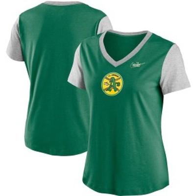 ナイキ レディース Tシャツ トップス Oakland Athletics Nike Women's Cooperstown Collection Logo Tri-Blend Mid V-Neck T-Shirt Green