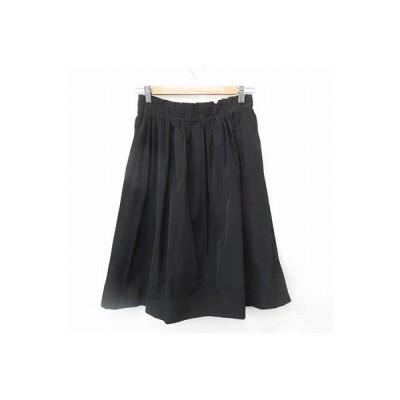 【中古】ミラオーウェン Mila Owen スカート ギャザースカート ひざ丈 タック ゴム 黒 F レディース 【ベクトル 古着】