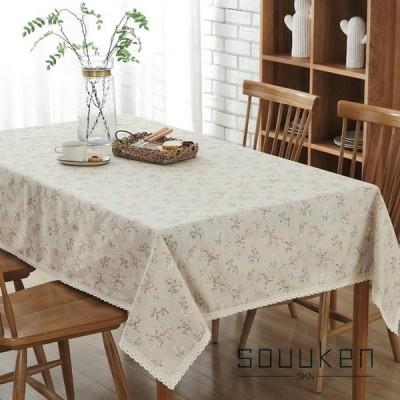 テーブルクロス テーブルカバー テーブルマット 綿麻生地 長方形 140×220cm 小花柄 レース かわいい 田園風 防塵
