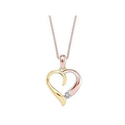 Round Shape White Natural Diamond Two Tone Heart Pendant Necklace In 10K So並行輸入品