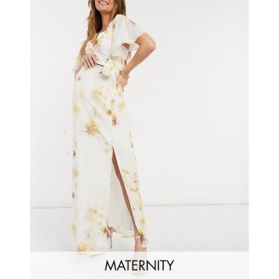 ホープ&アイビー Hope & Ivy Maternity レディース パーティードレス マキシ丈 Bridesmaid Cape Back Maxi Dress With Split In Soft Yellow Floral