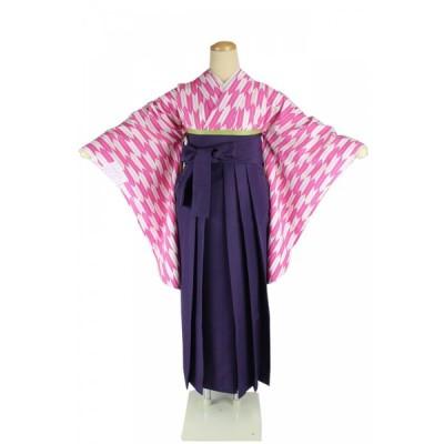二尺袖 着物 矢絣 お仕立て上がり Sサイズ 袴 紫 & 袴下帯 3点セット 2K-PK-HM-P