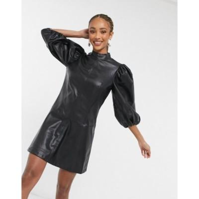 トップショップ Topshop レディース ワンピース ワンピース・ドレス IDOL faux leather extreme sleeve mini dress in black ブラック