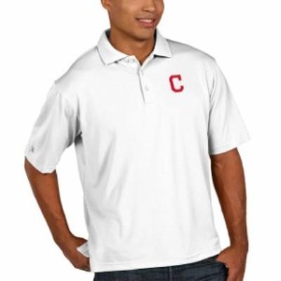 Antigua アンティグア スポーツ用品  Antigua Cleveland Indians White Pique Xtra Lite Big & Tall Polo