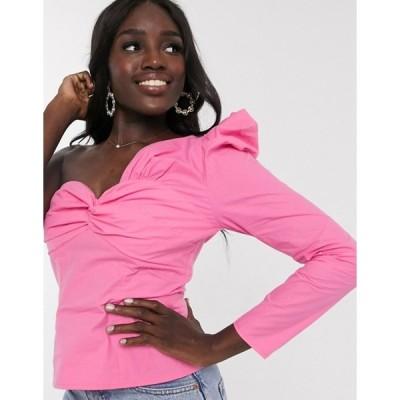 アウトレイジャスフォーチュン レディース シャツ トップス Outrageous Fortune one shoulder puff sleeve knot front top in pink