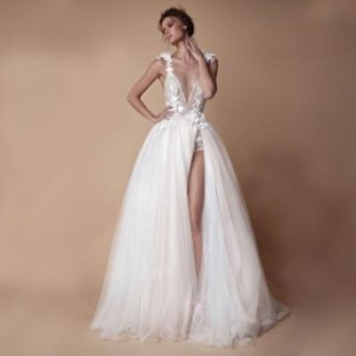 ウェディングドレス キャミ 深Vネック 背開き セクシー スリット ホワイトドレス Aライン チュール 結婚式ドレス 花嫁 ブライダルドレス