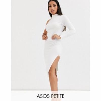エイソス ASOS Petite レディース ワンピース ミドル丈 ワンピース・ドレス asos design petite one sleeve knit midi dress クリーム