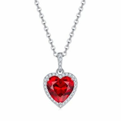 Bijou Queen Necklaces for Women, Sterling Silver Sapphire Long Dainty Necklace Pendant Hypoallergenic, 4ct Heart Cut Engagment W