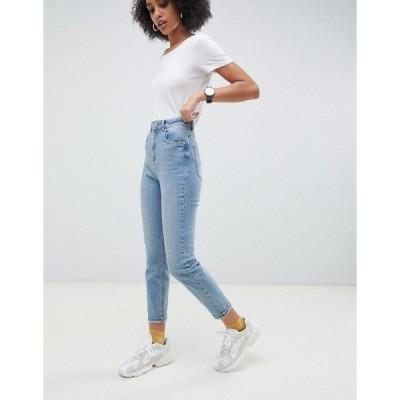 エイソス レディース デニム ボトムス ASOS DESIGN Farleigh high waisted slim mom jeans in light stone wash Blue