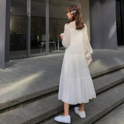 ワンピース 春 ホワイト ゆったり シンプル 長袖 可愛い おしゃれ 大人 レディース 結婚式 fe-2446