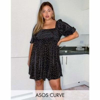 エイソス ASOS Curve レディース ワンピース ミニ丈 ASOS DESIGN Curve plisse mini dress with square neck in spot print ブラックスポ