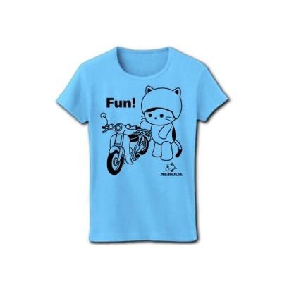 ビジネスバイクとねこ リブクルーネックTシャツ(ライトブルー)
