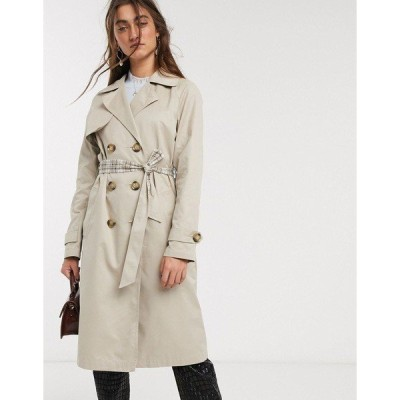 オンリー レディース コート アウター Only trench coat with check lining in beige Beige