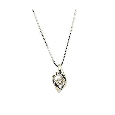 四葉のクローバー ダイヤモンド ネックレス 0.1カラット 40cm 10金 K10 ホワイトゴールド 一粒石 4月 誕生石 レディース 女