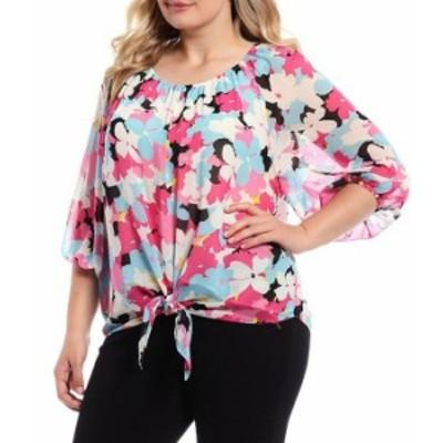 カルバンクライン レディース シャツ トップス Plus Size Floral Print Chiffon Scoop Neck Bubble Sleeve Tie Front Blouse Flamingo Mu