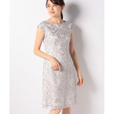 (ANAYI/アナイ) ツートンチュール刺繍ワンピース/レディース ライトグレー