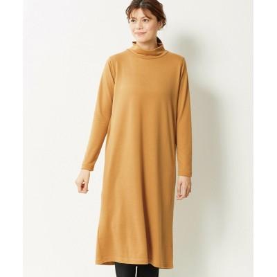 【大きいサイズ】 薄くてあたたかハイネックAラインニットソーワンピース ワンピース, plus size dress